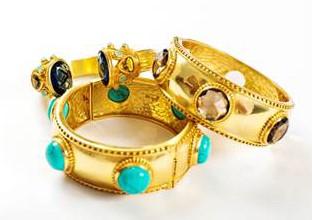Julie Vos gold stone bangles