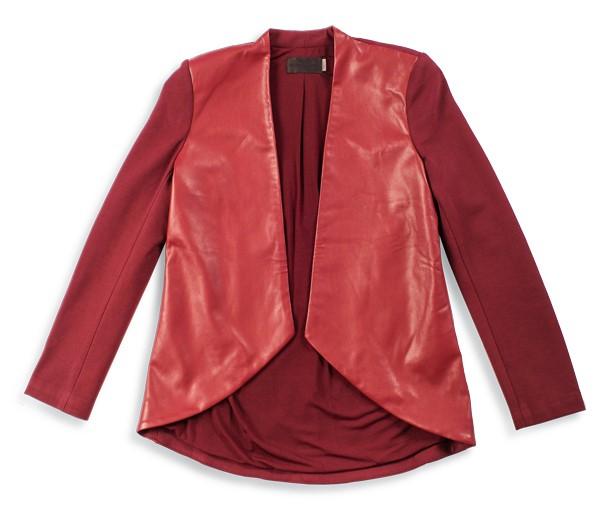 Burgundy faux leather blazer