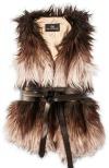 Faux fur vest with ADA wrap leather belt