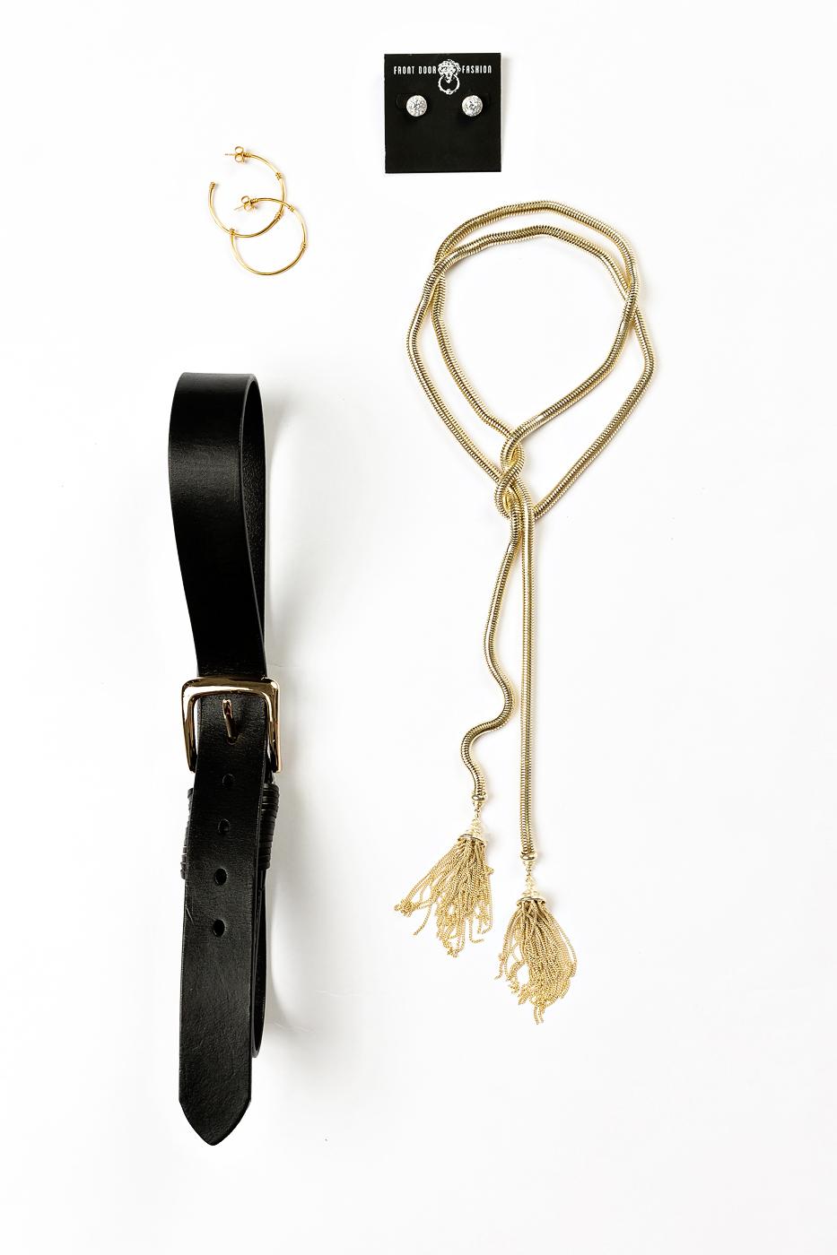 Kendra Scott necklace, Julie Vos hoop earriings, Elise M black leather belt