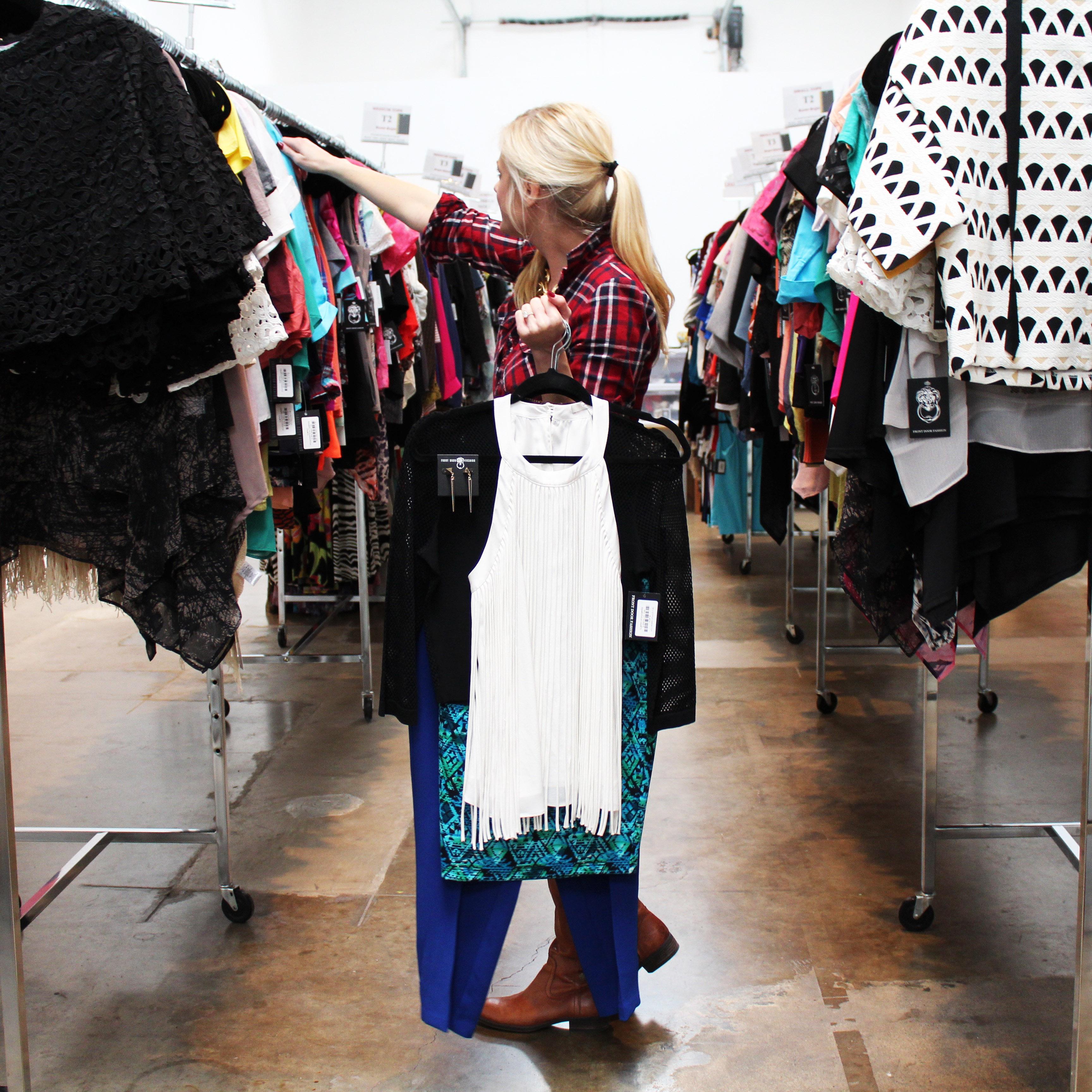 Front Door Fashion Stylist, Erika Styling her customer