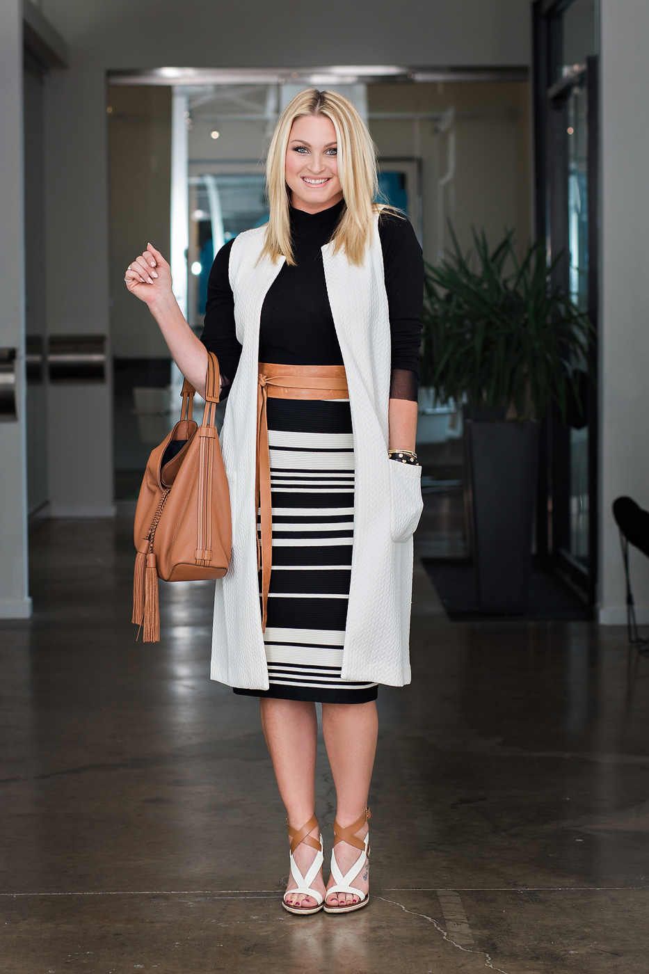 Stripe skirt outfit with Weston turtle neck, ADA belt, Badgley Mischka skirt, BCBGeneration vest