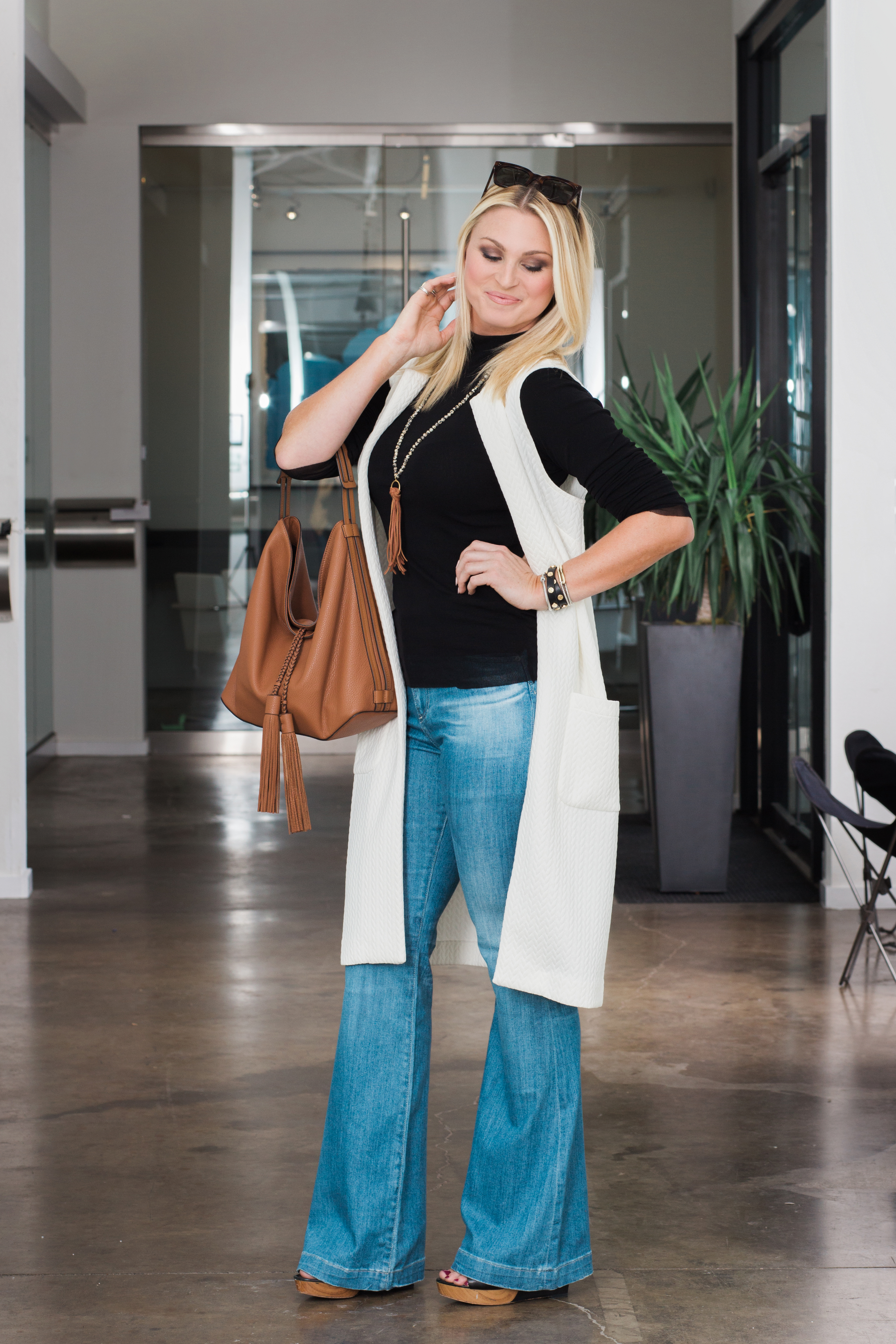 flare jeans outfit with AG flare jeans, Virtue necklace