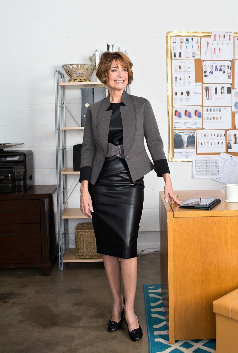 Professional outfit, classic leather dress