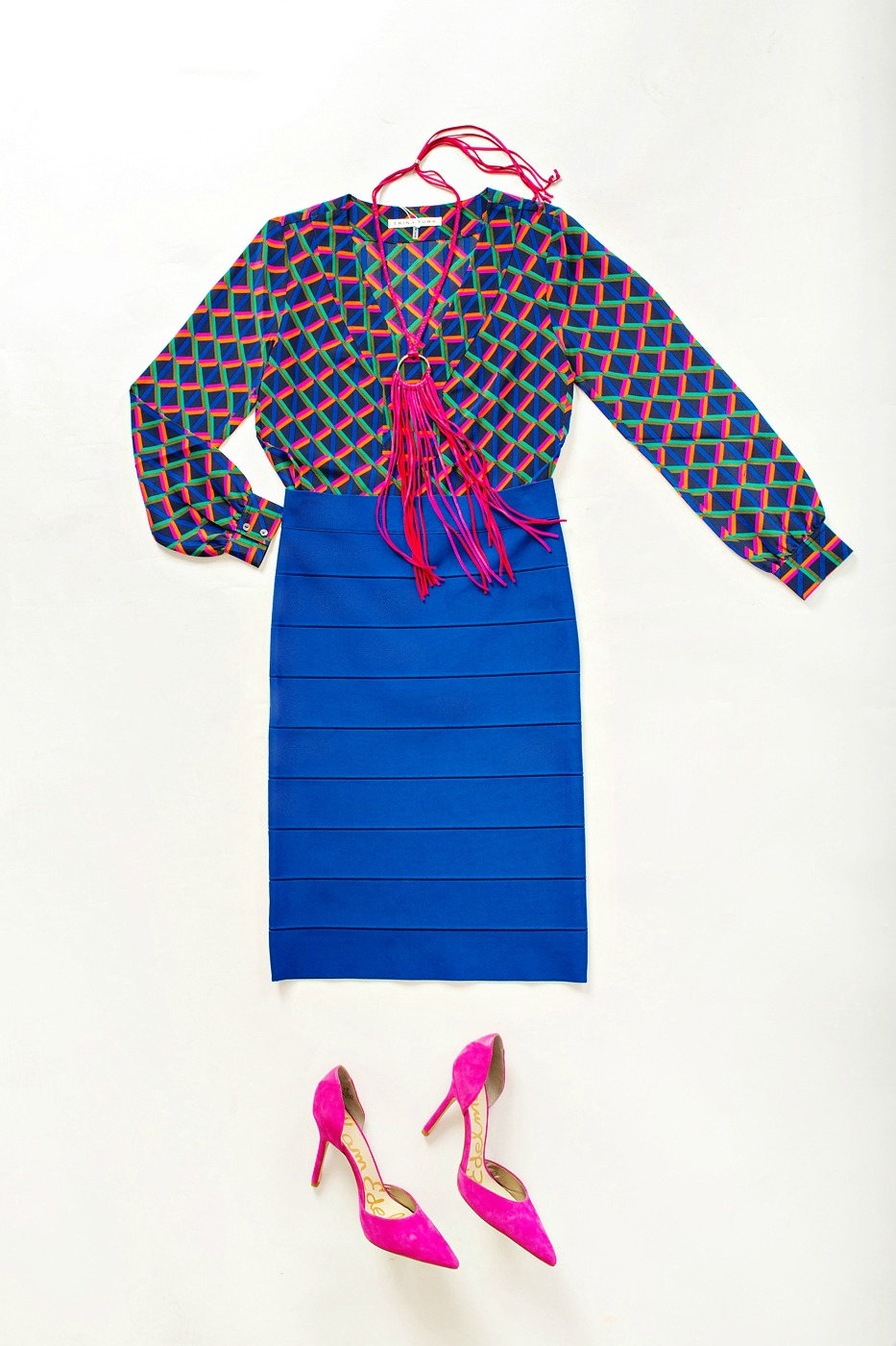 Cobalt BCBG bandage skirt, Trina Turk blouse and fuchsia statement necklace