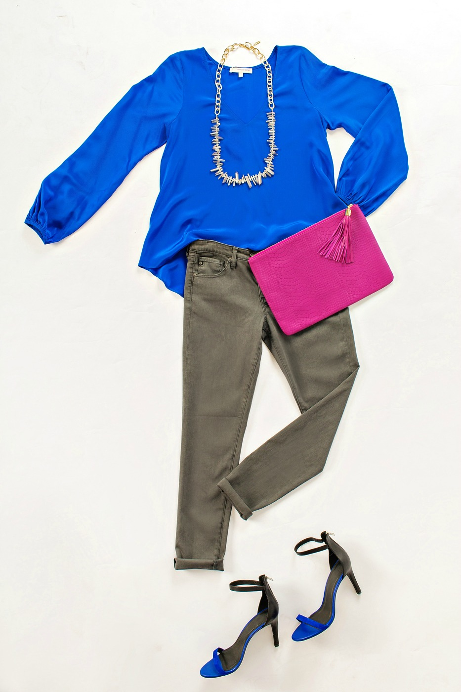 Cobalt weekend look with lavender brown top and gray AG jeans.