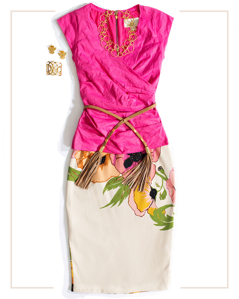 hot pink fitted top styled with a floral pencil skirt and gold accessories