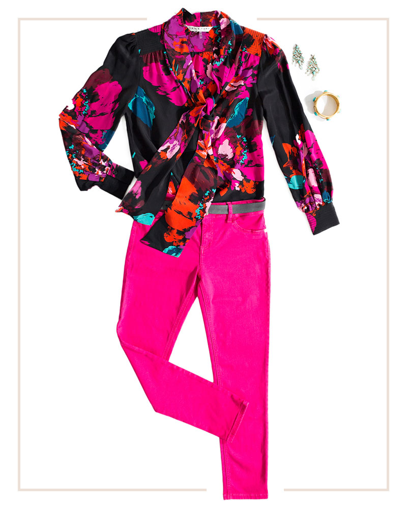 grown up business casual outfit styled with hot pink jeans and a floral top with pops of hot pink