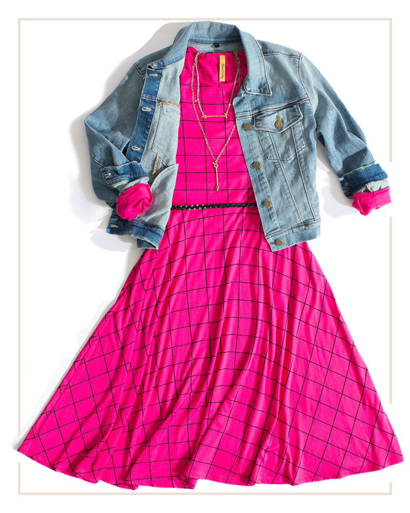 hot pink midi dress styled with a distressed denim jacket and boho accessories