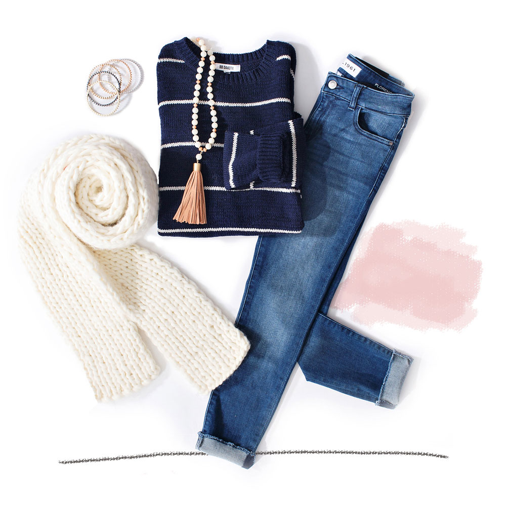 thin striped sweater with girlfriend jeans tassel necklace and bangle bracelets