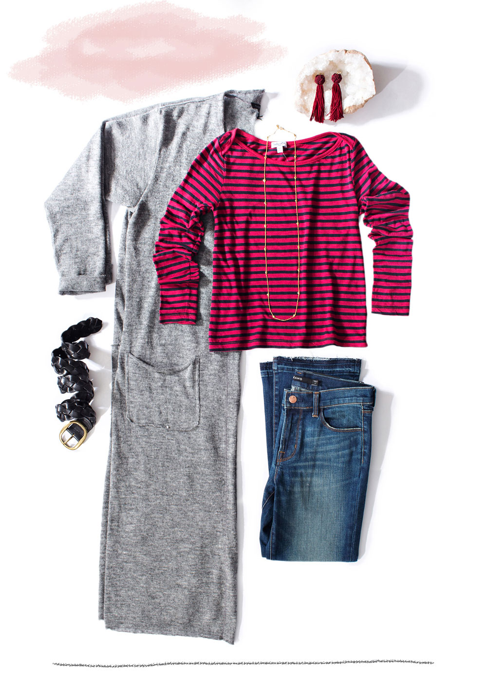 red striped shirt styled with fringe crop flair denim and grey maxi cardigan