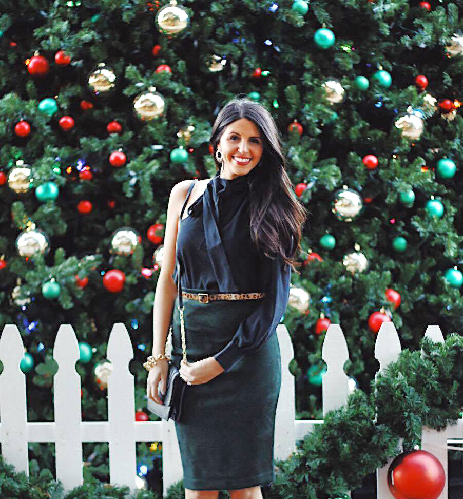 Emerald luxe - Holiday party outfit 3. Make an entrance in this green velvet gem. This classic velvet skirt is foolproof and such a gorgeous texture for the holidays.