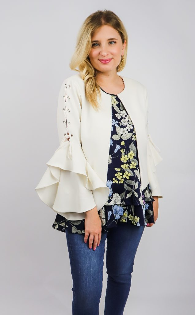 spring ruffle jacket and top