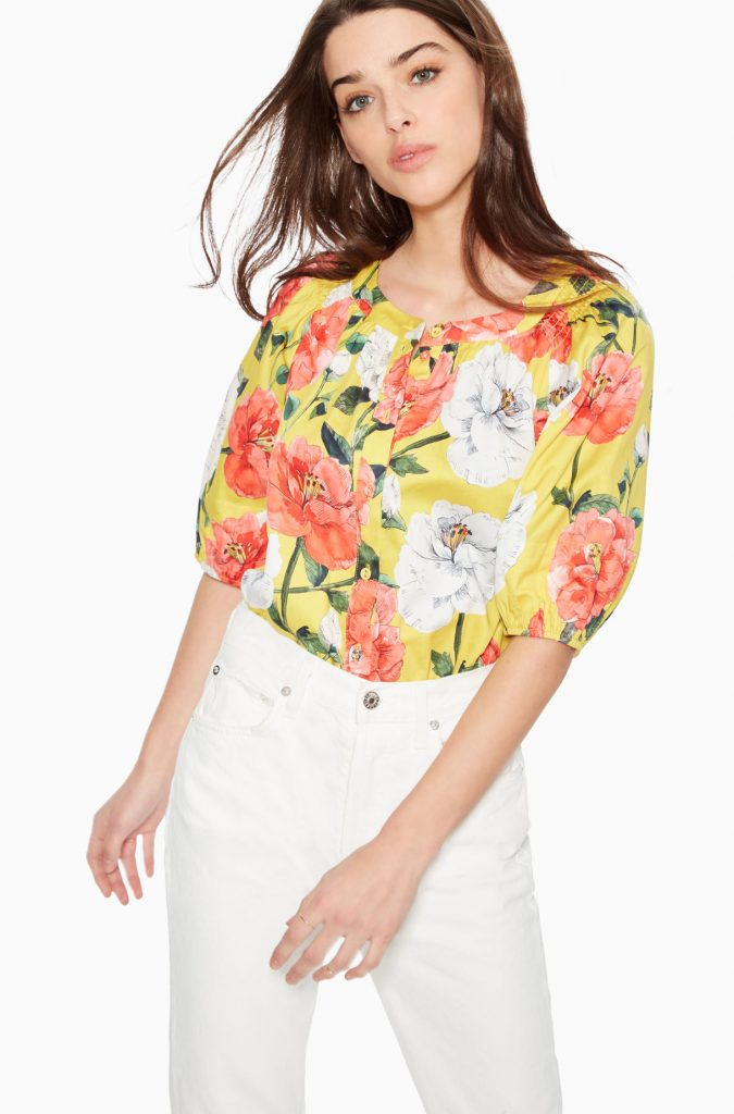 Parker floral button up top with full sleeves.