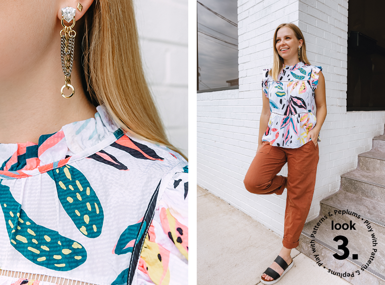 Peplum tops and busy prints to distract from your midsection
