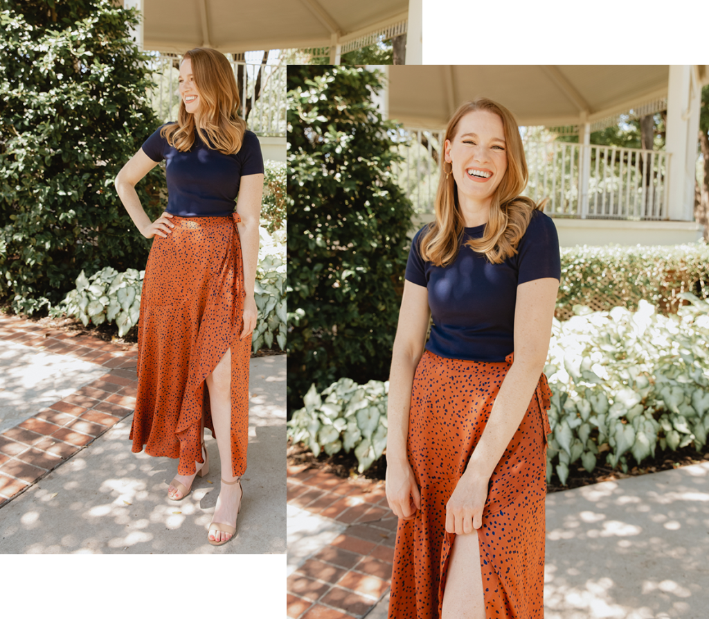 Add a wrap skirt to your quarantine tee for stepping out for a date night